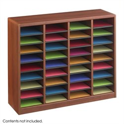 36 Compartments Wood Literature Organizer in Cherry