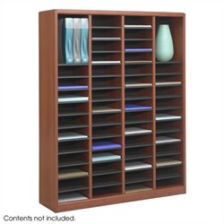 60 Compartments Wood Literature Organizer in Cherry