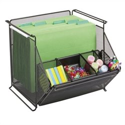 Stackable Mesh Storage Bins in Black