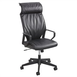 Leather High Back Executive Office Chair in Black