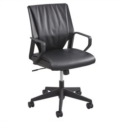 Leather Mid Back Executive Office Chair in Black