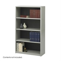 4-Shelf ValueMate Grey Economy Steel Bookcase