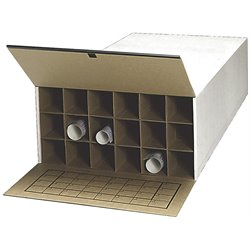 Medium Tube-Stor KD 18 Compartment Wood Roll Files Cabinet in White