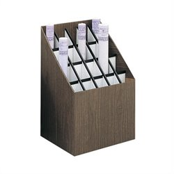 Upright 20 Compartment Wood/Fiberboard Roll Files in Walnut