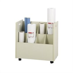 Wood Mobile Roll Files 8 Compartments in Putty