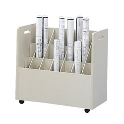 21 Compartment Mobile Wood Roll Files Organizer in Putty