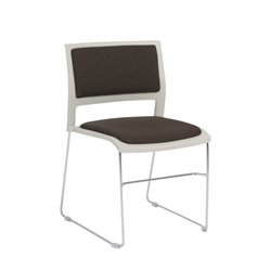 Eurostyle Raylan Stacking Side Chair in Charcoal and Tan (Set of 4)