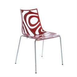 Eurostyle Wave Stacking Side Chair in Clear and Translucent Red