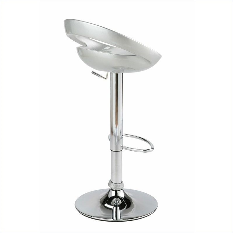 Adjustable Swivel Stool in Silver and Chrome