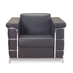 Eurostyle Leander I Leather Club Arm Chair in Black
