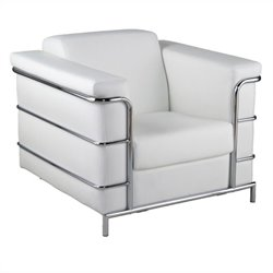 Eurostyle Leander I Leather Club Arm Chair in White