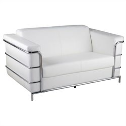 Eurostyle Leander II Leather Loveseat in White and Chrome