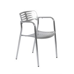 Eurostyle Helen Stacking Arm Chair in Shiny Aluminum