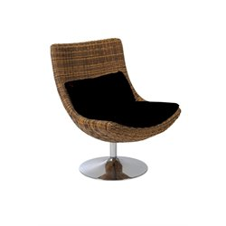 Eurostyle Fenia Swivel Chair in Triple Brown Rattan