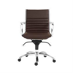 Eurostyle Dirk Low Back Office Chair in Brown/Chrome