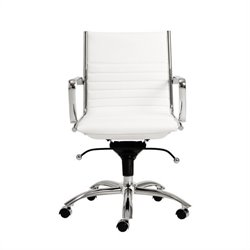 Eurostyle Dirk Low Back Office Chair in White/Chrome