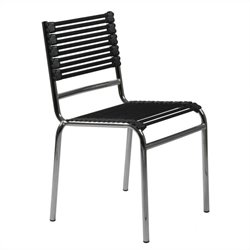 Eurostyle Bungie Stacking Flat Bungie Dining Chair in Black/Chrome