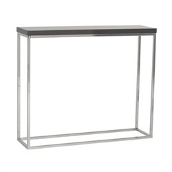 Eurostyle Teresa Console Table in Gray Lacquer/Polished Steel