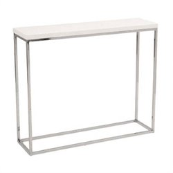 Eurostyle Teresa Console Table in White Lacquer / Polished Steel