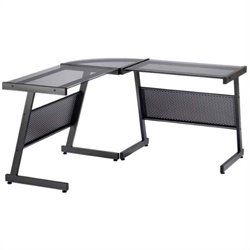 Eurostyle Luigi L Desk in Graphite Black/Smoked Glass