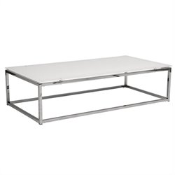 Eurostyle Sandor Coffee Table in Pure White Glass/Chrome
