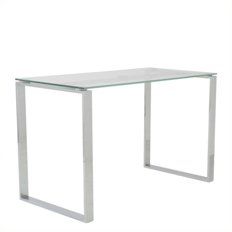 Eurostyle Diego Desk 48x24 Glass in Clear and Polished Stainless Steel