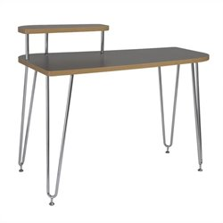 Eurostyle Hanh Left Shelf Desk in Gray and Chrome
