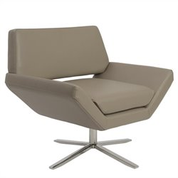 Eurostyle Carlotta Faux Leather Lounge Chair in Tan