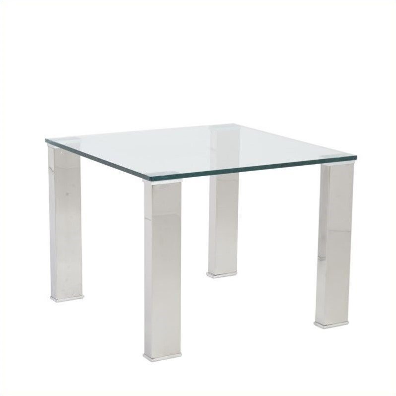 Eurostyle Beth Square Glass Side Table in Clear