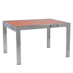 Eurostyle Duo Rectangular Extension Dining Table in Chrome and Orange Glass