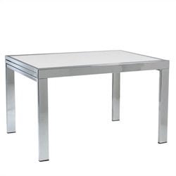 Eurostyle Duo Rectangular Extension Dining Table in Chrome and Pure White Glass