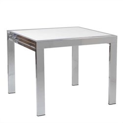 Eurostyle Duo Square/Rectangular Extension Dining Table in Chrome and Pure White Glass