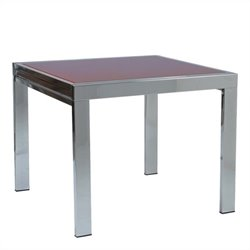 Eurostyle Duo Square/Rectangular Extension Dining Table in Chrome and Red Glass