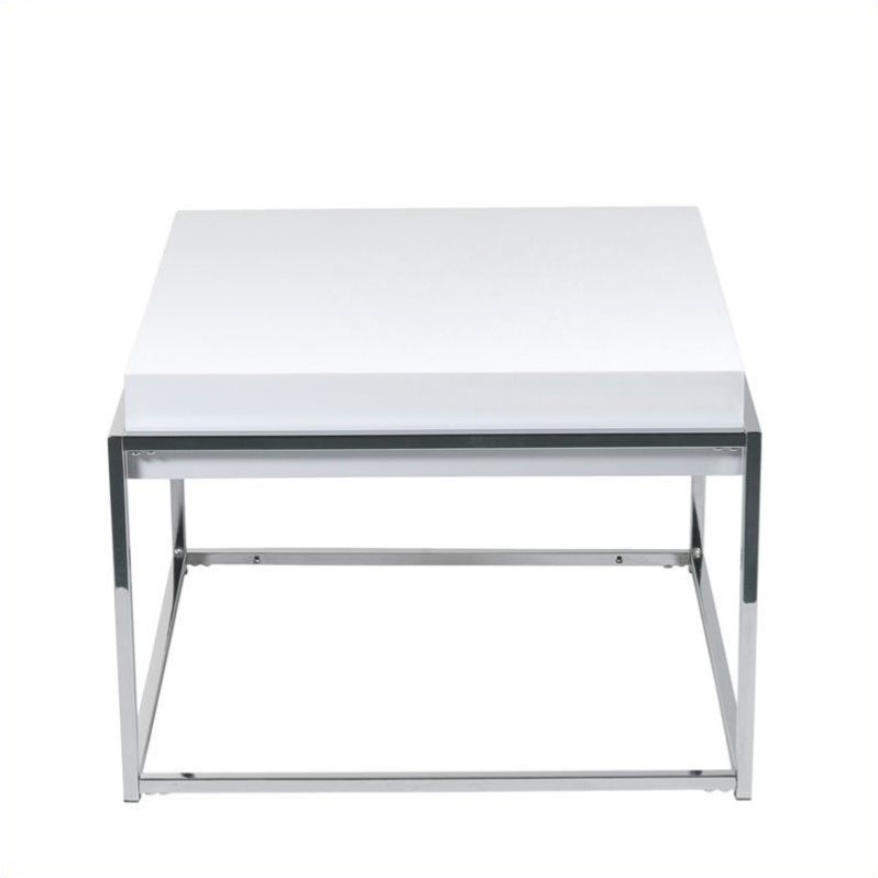 Eurostyle Greta Square Side Table in White Lacquer