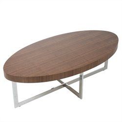 Eurostyle Oliver Oval Coffee Table in Walnut