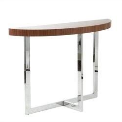 Eurostyle Oliver Demilune Console Table in Walnut