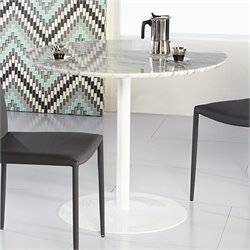 Eurostyle Tammy Round Dining Table in Marble and White