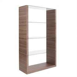 Eurostyle Lennox Shelving Unit Glass in Walnut