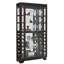 Pulaski Sliding Front Wine Rack Curio Cabinet in Brown