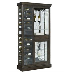 Pulaski Hillsville Mirrored Back Wine Rack Curio Cabinet in Brown