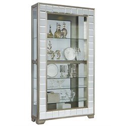 Pulaski Platinum Mirrored Frame Side Entry Curio Cabinet in Silver