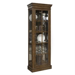 Pulaski Pemberly Mirrored Famed Door Curio Cabinet in Brown