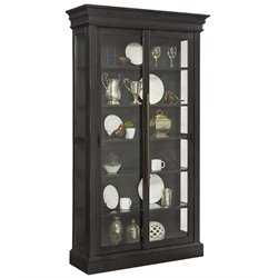 Pulaski Charcoal Sliding Bypass Door Curio Cabinet in Black