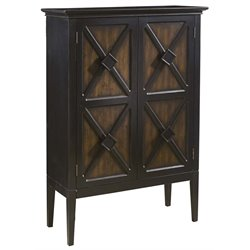 Pulaski Norman Two Tone Recessed Panel Wine Cabinet in Ebony and Brown