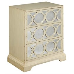 Pulaski 3 Drawer Overlay Mirrored Accent Chest in Cream