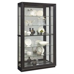 Pulaski Rockfor 2 Way Sliding Door Mirrored Curio Cabinet in Brown