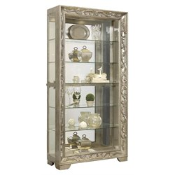 Pulaski Metallic Scroll Side Entry Mirrored Curio Cabinet in Platinum