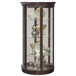 Pulaski Half Round Mirrored Mantle Curio Cabinet in Sable Brown