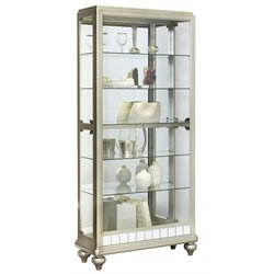 Pulaski Mirrored Metallic Side Entry Curio Cabinet in Silver