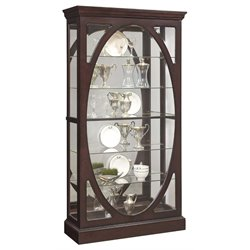 Pulaski Oval Framed Mirrored Curio Cabinet in Sable Brown